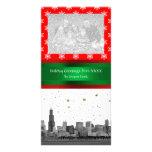 Navidad rojo del copo de nieve del horizonte de tarjeta personal