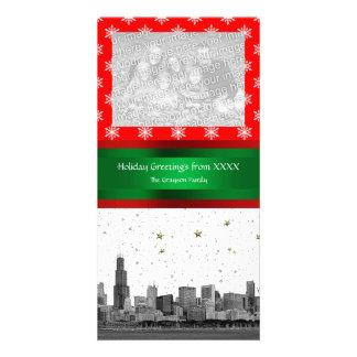Navidad rojo del copo de nieve del horizonte de tarjetas fotográficas