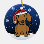 Navidad rojo del Dachshund del dibujo animado de K Adorno De Navidad