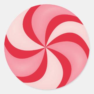 Navidad rojo del día de fiesta del caramelo de pegatina redonda