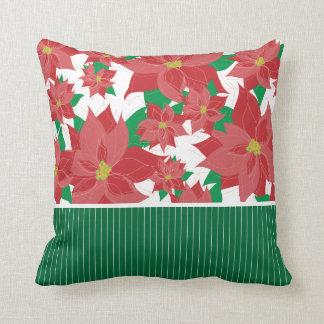 Navidad rojo del Poinsettia Cojín