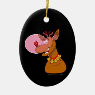 Navidad rojo del reno respetuoso del medio adorno navideño ovalado de cerámica