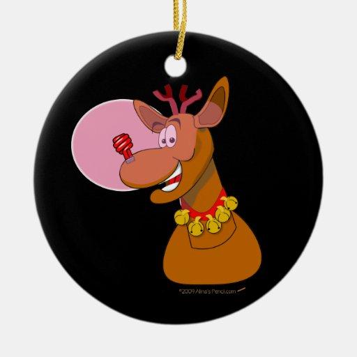 Navidad rojo del reno respetuoso del medio adorno navideño redondo de cerámica