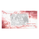 Navidad rojo elegante del copo de nieve de encargo tarjetas fotográficas