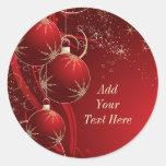 Navidad rojo elegante etiqueta redonda