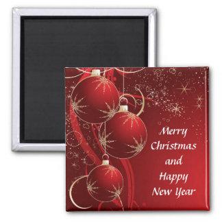 Navidad rojo elegante imán cuadrado