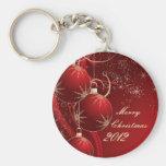 Navidad rojo elegante llaveros