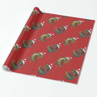 Navidad rojo festivo del modelo de cabezas y de papel de regalo