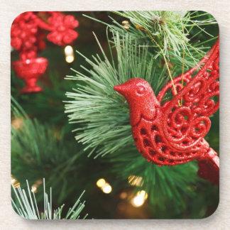 Navidad rojo festivo del pájaro posavasos de bebidas
