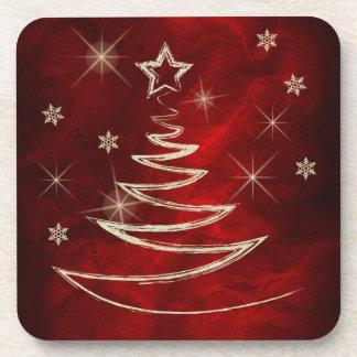 Navidad rojo marrón del árbol del oro posavasos de bebidas