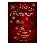Navidad rojo marrón del árbol del oro tarjeton