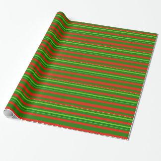Navidad rojo/modelo verde de las rayas papel de regalo