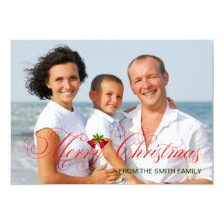 """Navidad rojo moderno de la foto invitación 5"""" x 7"""""""