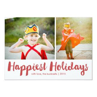 """Navidad rojo MultiPhoto de la escritura de los Invitación 5"""" X 7"""""""