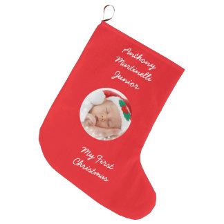 Navidad rojo personalizado que almacena con la calcetín navideño grande