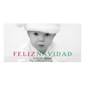 Navidad rojo verde de la tipografía de Feliz Plantilla Para Tarjeta De Foto