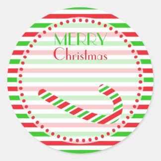 Navidad rojo y bastón y rayas verdes de caramelo pegatina redonda