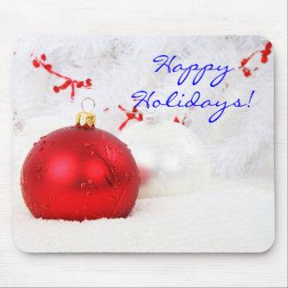 Navidad rojo y blanco buenas fiestas II Alfombrilla De Ratones
