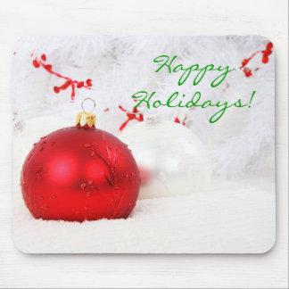 Navidad rojo y blanco buenas fiestas yo alfombrilla de ratones