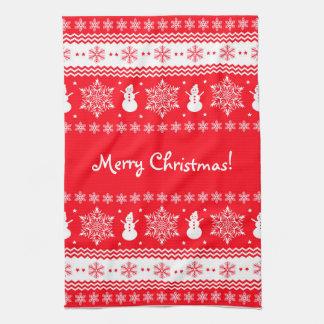 Navidad rojo y blanco toallas