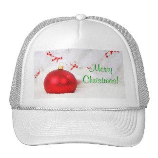 Navidad rojo y Felices Navidad blancas Gorra