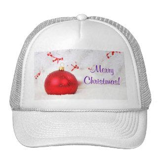 Navidad rojo y Felices Navidad blancas III Gorro De Camionero