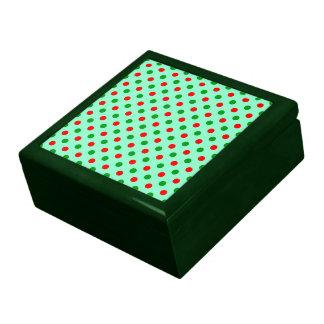 Navidad rojo y lunares verdes caja de recuerdo