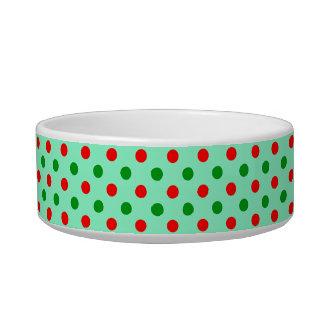 Navidad rojo y lunares verdes tazón para gato