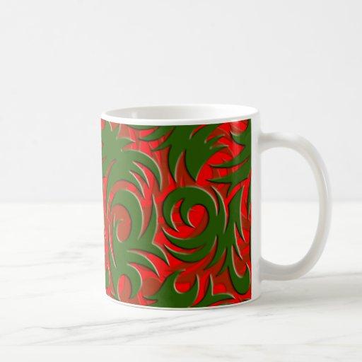 Navidad rojo y modelo elegante verde del remolino taza de café