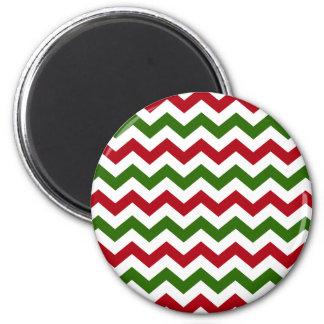 Navidad rojo y modelo verde de Chevron Imán Redondo 5 Cm