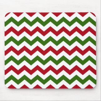 Navidad rojo y modelo verde de Chevron Tapete De Ratón