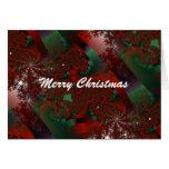 Navidad rojo y tarjeta floral cristalina verde del