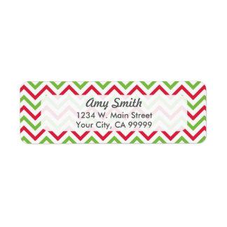 Navidad rojo y verde Chevron Etiqueta De Remite