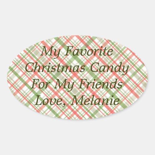 Navidad rojo y verde de la tela escocesa mi calcomanía óval personalizadas