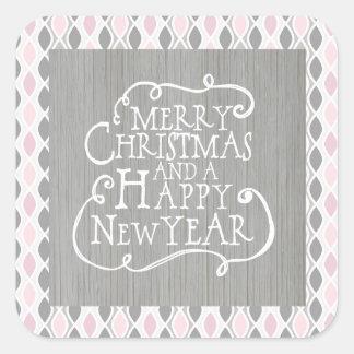 Navidad rosado, gris y Año Nuevo Pegatina Cuadrada