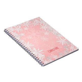 Navidad rosado libro de apuntes con espiral