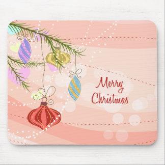 Navidad rosado Mousepad de los ornamentos del boni