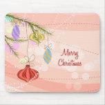 Navidad rosado Mousepad de los ornamentos del boni Tapetes De Ratones