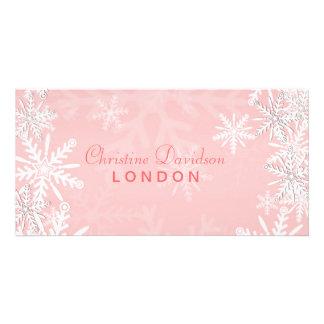 Navidad rosado tarjeta fotografica
