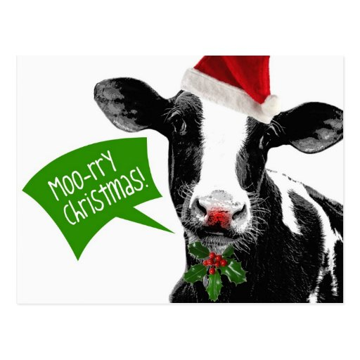 ¡Navidad rry del MOO! Vaca divertida del día de fi Postales