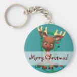 Navidad Rudolph el reno sospechado rojo Llaveros