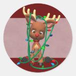 Navidad Rudolph el reno sospechado rojo Pegatinas Redondas