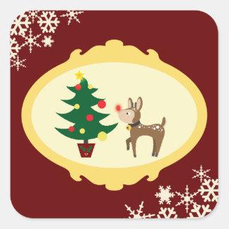 Navidad Rudolph Pegatina Cuadrada