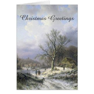 Navidad rural del paisaje 1845 Nevado Tarjeta De Felicitación