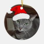 Navidad ruso del gato azul adorno redondo de cerámica