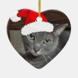 Navidad ruso del gato azul adorno de cerámica en forma de corazón