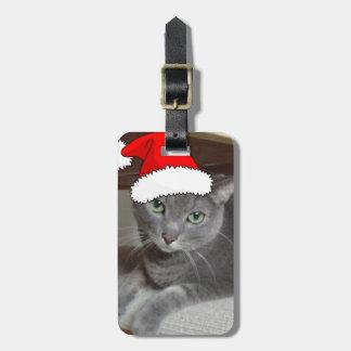Navidad ruso del gato azul etiquetas para equipaje