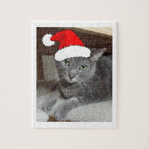 Navidad ruso del gato azul puzzle