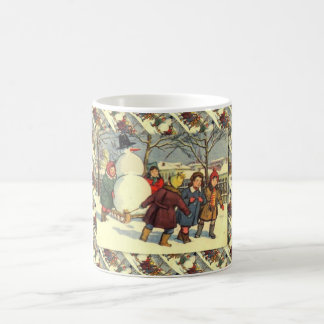 Navidad ruso del vintage, trayendo a casa un muñec taza de café