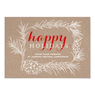 """Navidad rústico del marco de la rama y del cono invitación 5"""" x 7"""""""